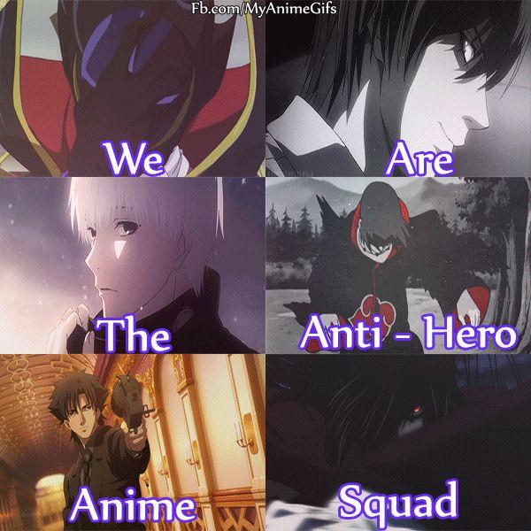 Anime: Code Geass [Lelouch Lamperogue] / Death Note [Raito (Light) Yagami] / Tokyo Ghoul [Ken Kaneki] / Naruto [Itachi Uchiha] / Fate Zero [Kiritsugu Emiya] / Hellsing [Alucard]