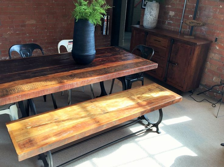 Industrial style dining room furniture. Be bang on trend with our Hyatt - Canning Dining Table set. Made from upcycled wood and steel.