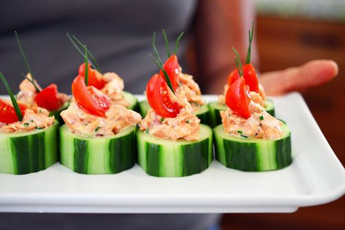 Spicy Salmon Cucumber Bites | Award-Winning Paleo Recipes | Nom Nom Paleo  [AIP if: sub coconut cream & acv, or coconut yogurt for mayo, skip paprika, tabasco, & pepper, sub prefered spices (turmeric, asafoetida, dill); skip shallots for low FODMAP, sub capers?]