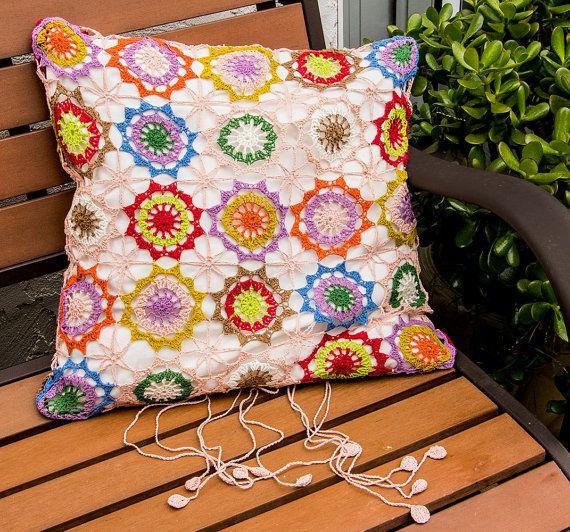 Crochet Pillow Case Handmade Crochet Cushion by CrochetSwell