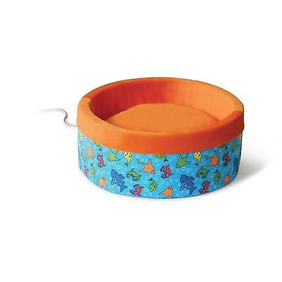 K&H Thermo-Kitty Heated Cat Bed Fish Print/Orange Standard Packaging 16-Inch