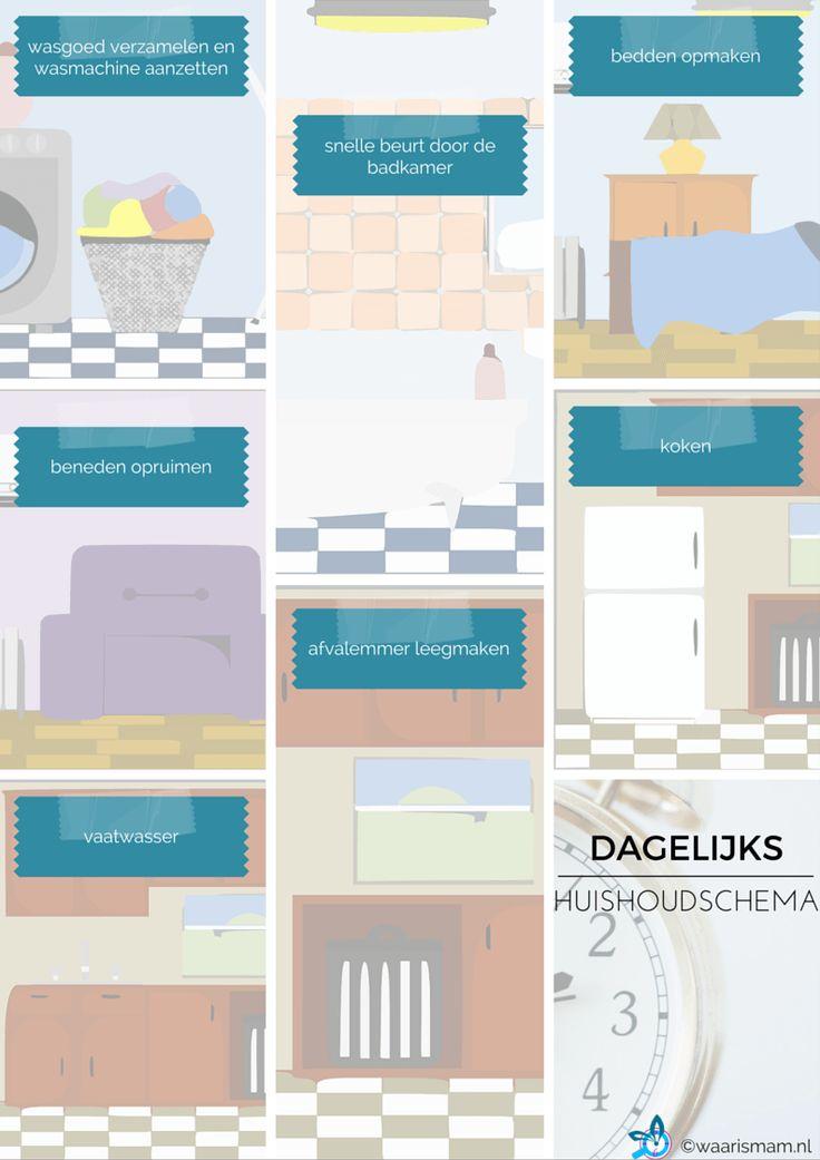 Dagelijks huishoudschema. Bij waarismam.nl vind je een dagelijks ritme in je huishouden waarmee je in een uur per dag klaar bent. Bekijk de website!
