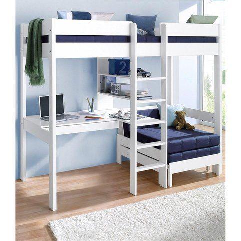 Lit mezzanine avec plan de travail + étagères - Blanc- Vue 1
