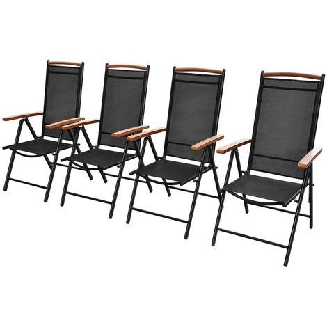 vidaXL Folding Garden Chairs 4 pcs Aluminium 58x65x109 cm Black - Garden and Outdoor