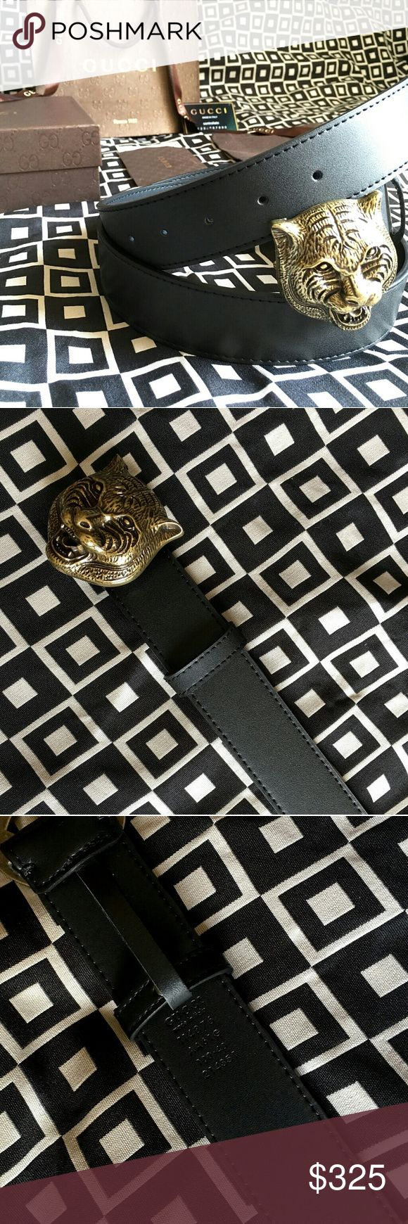 """Gucci Feline Belt!!! Gucci Feline Belt W/ Antique Brass Hardware!!!  Brand New!!!  Size Available - 32"""", 34"""", 36"""", 38"""", 40"""", 42"""", 44""""!!!  Includes Gucci Belt, Gift Box, Dust Bag, Ribbon, Etc!!!  Great Gift Idea!!!  Last Available!!!  Check My Listings For Other Great Items!!!             Ignore: Gucci gg monogram casual dress belts men's women's guccissma leather monogram web tiger bee embossed panther wool cable knit blooms supreme print angry cat ufo dragon studded snake double g Gucci…"""