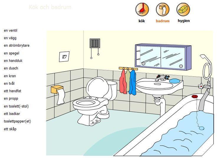 Swedish vocabulary - bathroom - svenska ord - badrum 1