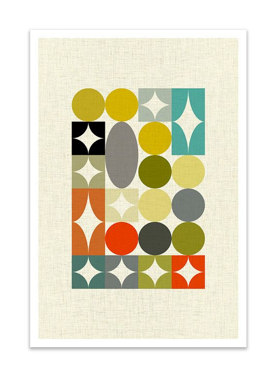 PALETTE no.3 Giclee Print Mid Century Modern Danish by Thedor