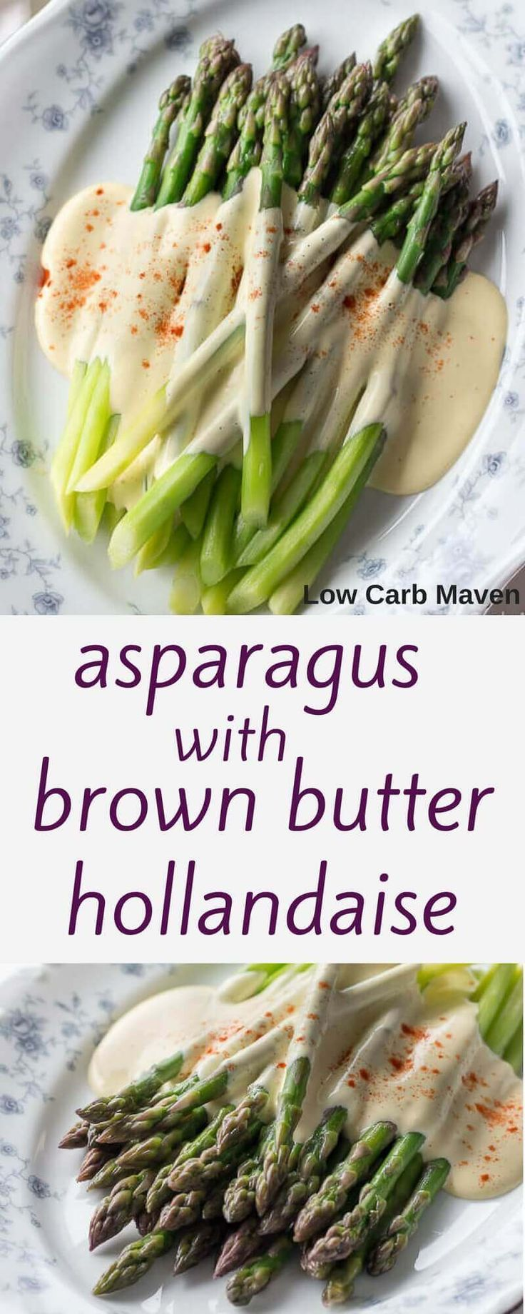 An easy asparagus side dish recipe with tender asparagus and a blender Hollandaise sauce. It's the perfect vegetable side for low carb diets. This recipe is also vegetarian, gluten free and paleo!