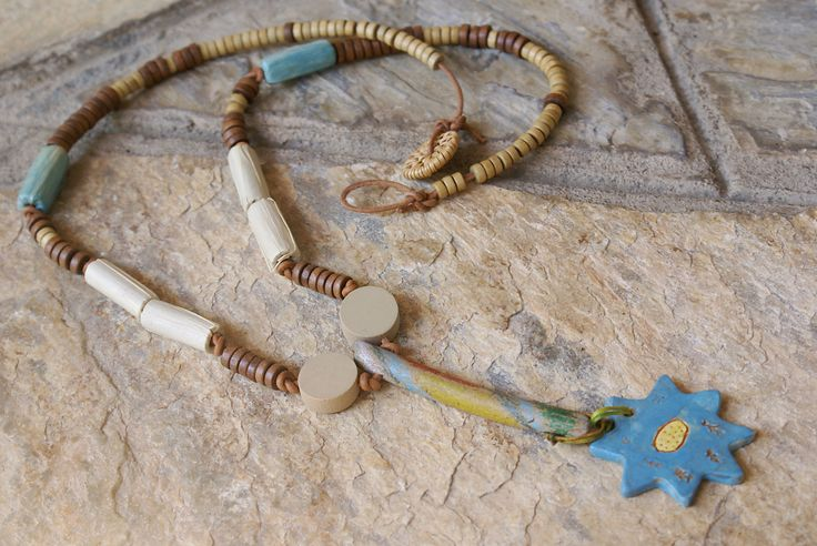 Pendant Necklace Blue Pendant Beaded Necklace Sun Ceramic Pendant Sea Wood Necklace Boho Hippie Jewelry Summer Jewelry Wooden Beads Leather by Hishuk on Etsy