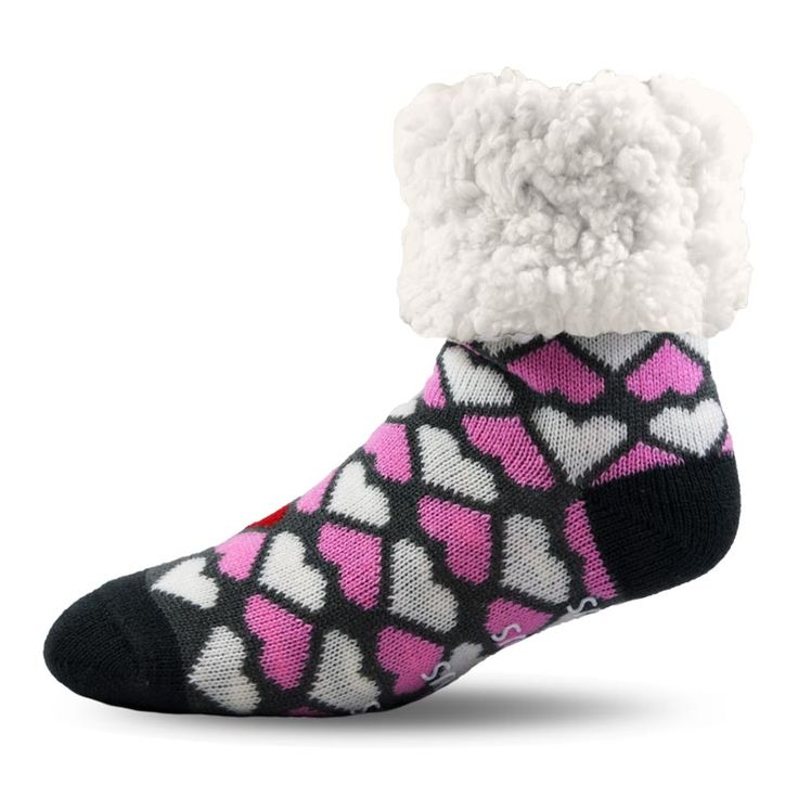 PUDUS Valentine Socks with an Extra Fluffy Sherpa Lining  #socks #pink #hearts #wintersocks