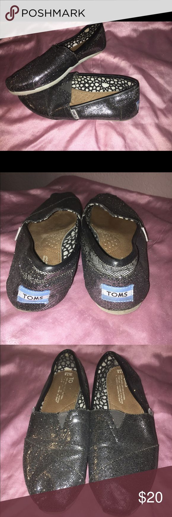 Glitter toms Navy glitter Only worn once! Classic glitter toms , dark grey color. TOMS Shoes Flats & Loafers