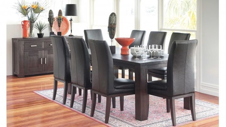 Rustic 9 piece dining setting dining furniture dining for Outdoor furniture harvey norman