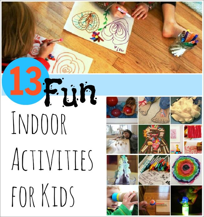 13 fun indoor activities for kids! Keep the kiddos happily engaged when it's cold or rainy outside...
