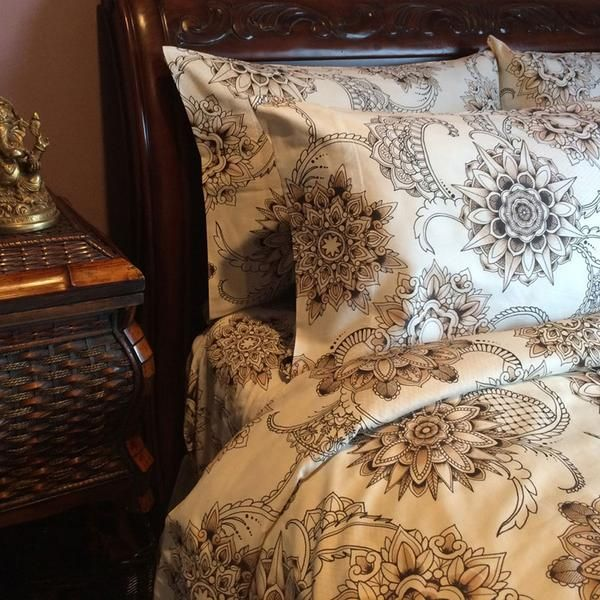100 Cotton Henna Tattoo Duvet Cover By Sin In Linen