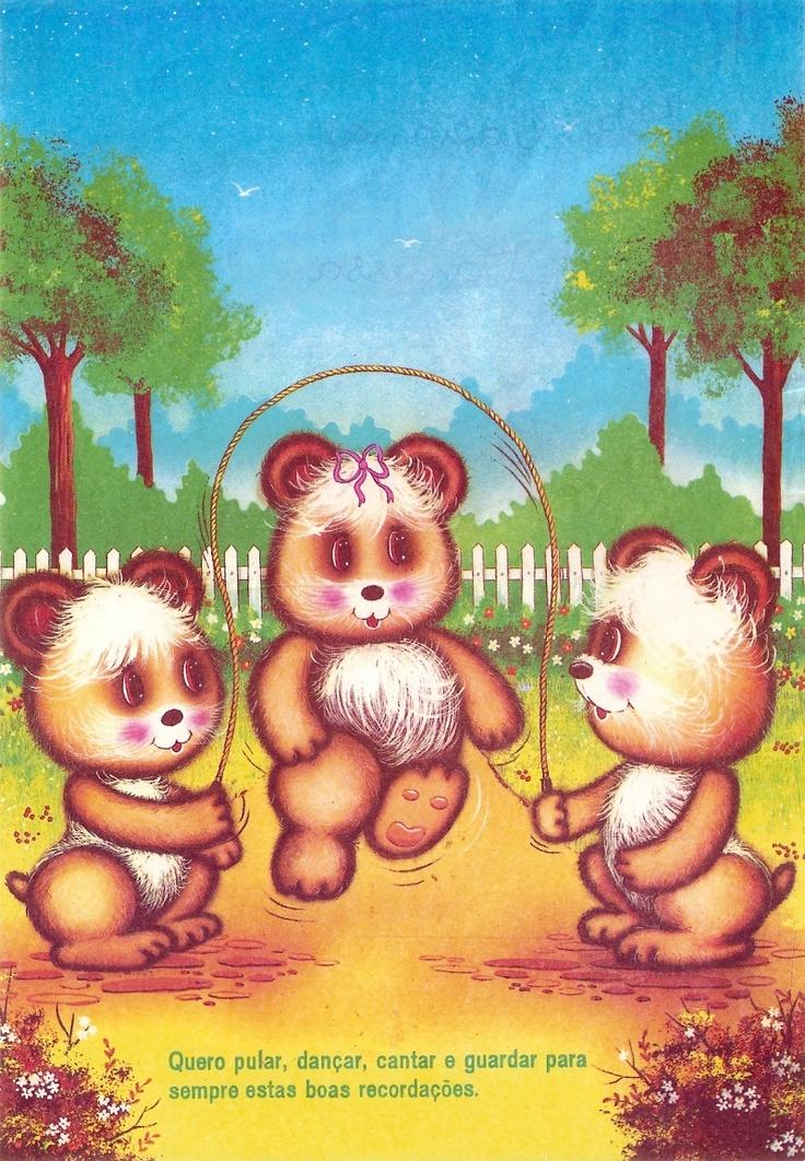 #papeldecarta #vintage Eu achava esses ursinhos muito engraçados, eles têm o peito muito peludo, hehehe!