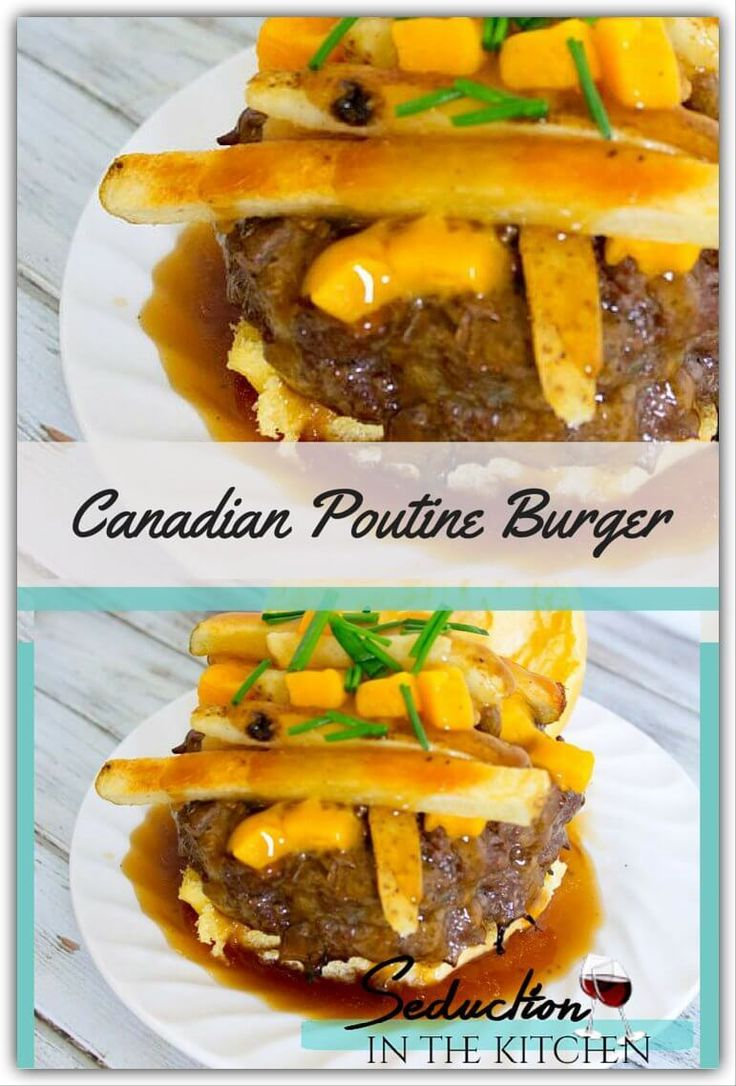 Canadian Poutine Burger is a burger with Canada influence! A mushroom and onion stuffed Angus burger with gravy, fries, and cheddar cheese. A recipe from Seduction in the Kitchen.