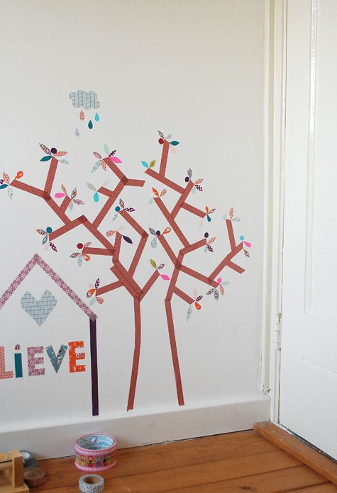 washi tape tree in childs bedroom