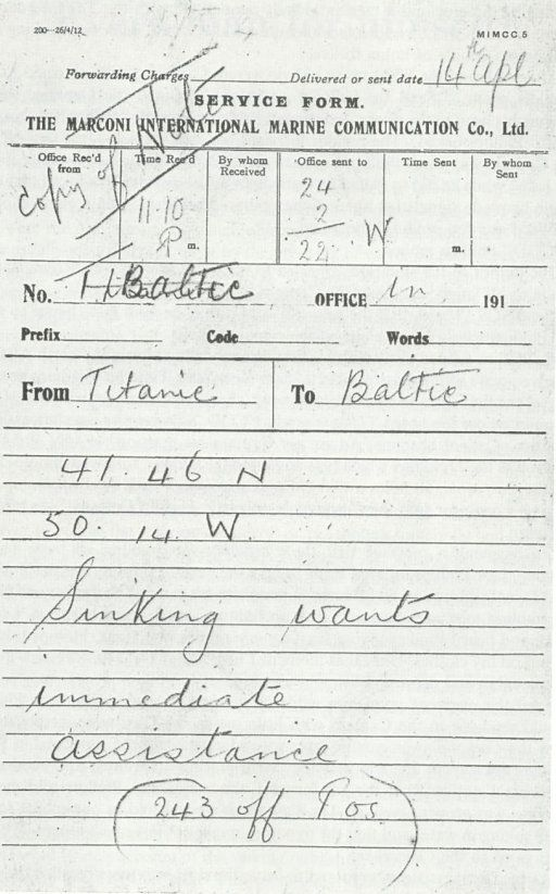 Marconi wireless message, RMS Titanic to RMS Baltic, 14 April 1912, 11:10pm....