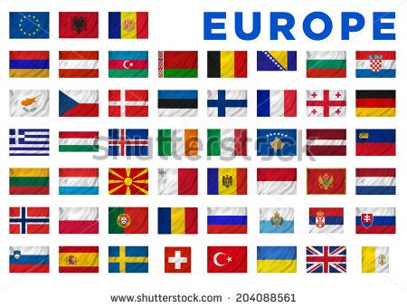 Europe flags of all European countries. Clipping path included.