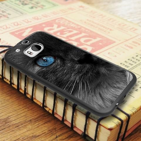 Black Cat Blue Eye HTC One M8 Case