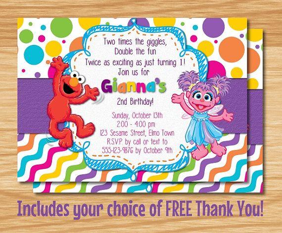 Elmo  Abby Cadabby Birthday Invitation Elmo by MyBabiesBreath