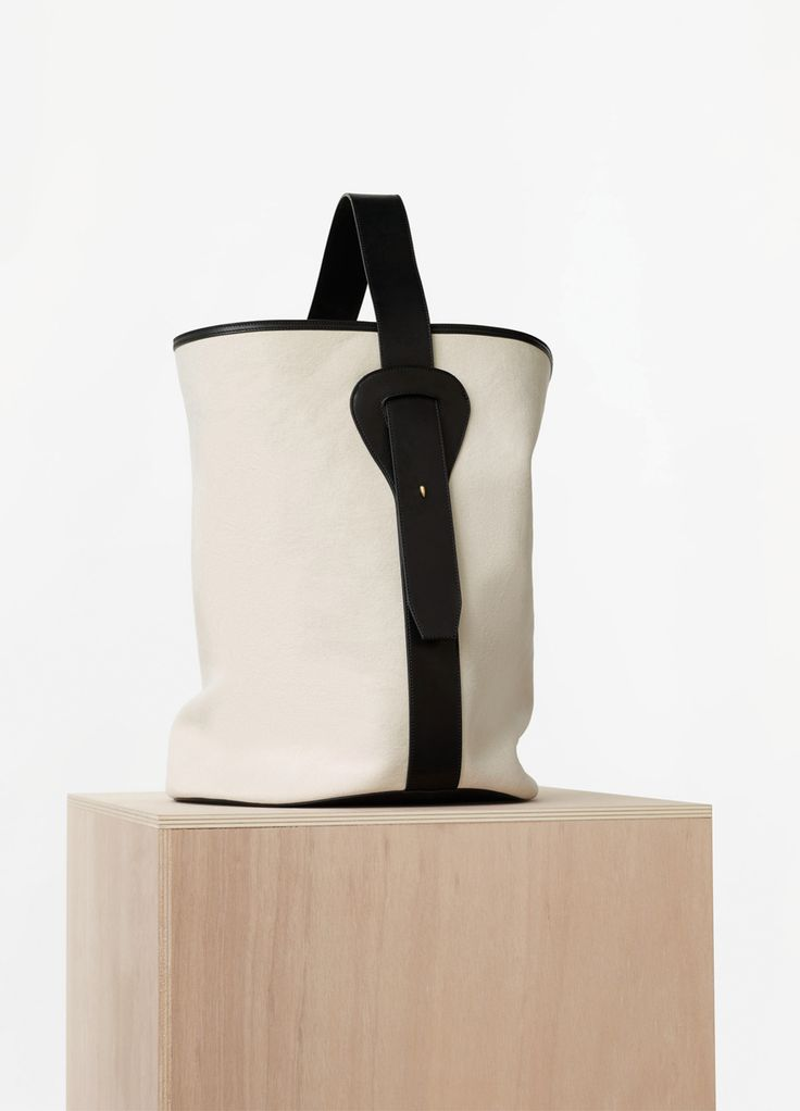 Large Canvas Bucket in Washed Canvas and Vegetal Calfskin - Spring ...