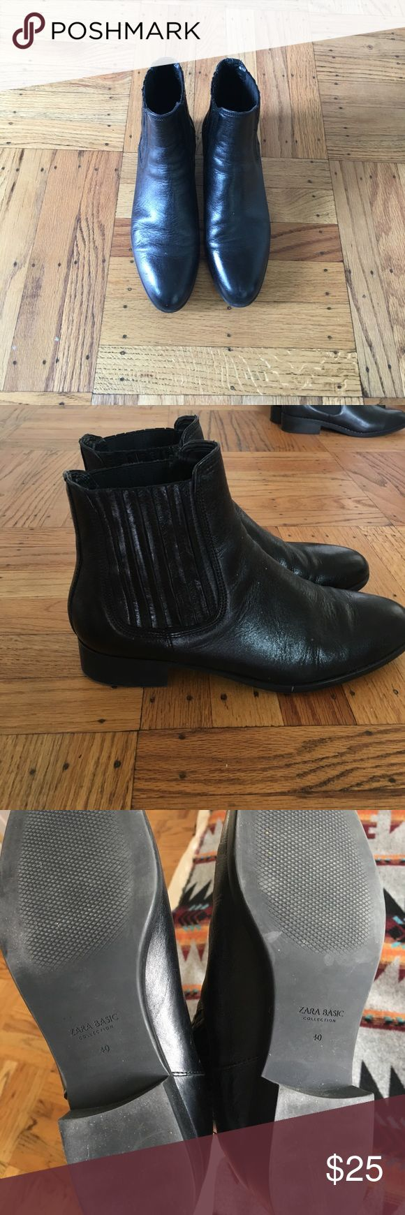 Zara - Black Leather - Chelsea Boots - size 40-US9 Reposh! Just a tad big on me. Great condition. From the Zara Basic collection. Zara Shoes Ankle Boots & Booties