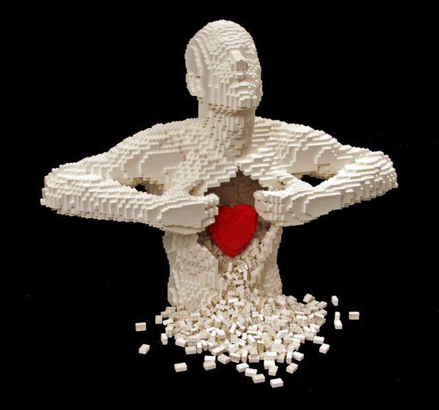 Heartfelt by Nathan Sawaya: Nathan Sawaya, Heart, Legoart, Lego Sculpture, Nathansawaya, Lego Art, Legos, Blog Design, Sculpture Art