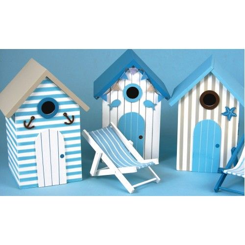 Themed Bird Houses | Home » Bird Houses - beach hut, 3 assorted, 22x15x13cm