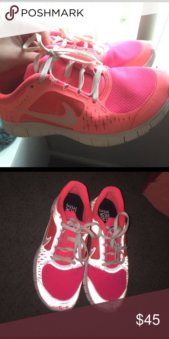 Custom pink NIKE ids Super cute sneakers with custom ordered colors! Hot Pink and coral orange colors. Very lightly worn originally $200. Nike Shoes Sneakers