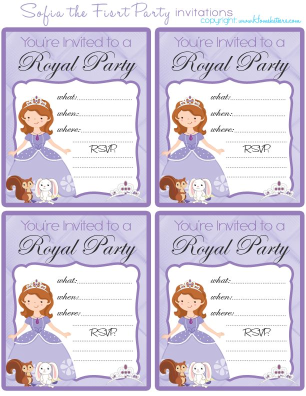 33 best sofia the first party printables images on pinterest, Party invitations