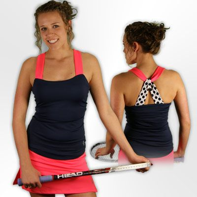 The JoFit Oasis Playa tennis tank paired with the JoFit Oasis tennis skirt!