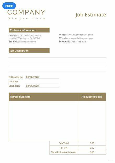 free job estimate sheet templates designs 2019 templates