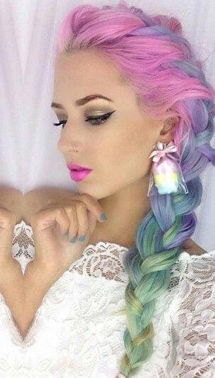 Pink purple pastel rainbow braided dyed hair color @amythemermaidx