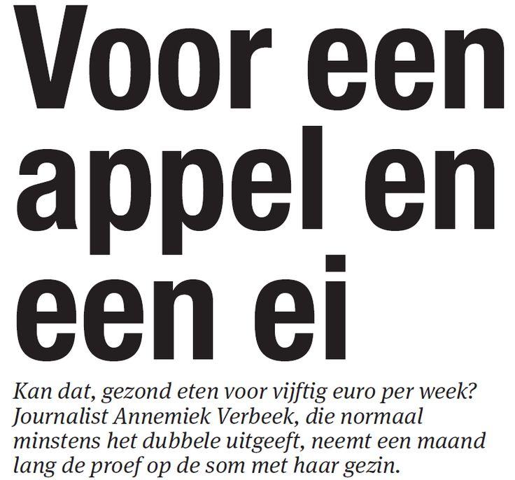 Kan dat, gezond eten voor vijftig euro per week? Journalist Annemiek Verbeek, die normaal minstens het dubbele uitgeeft, neemt een maand lang de proef op de som met haar gezin. #consuminderen