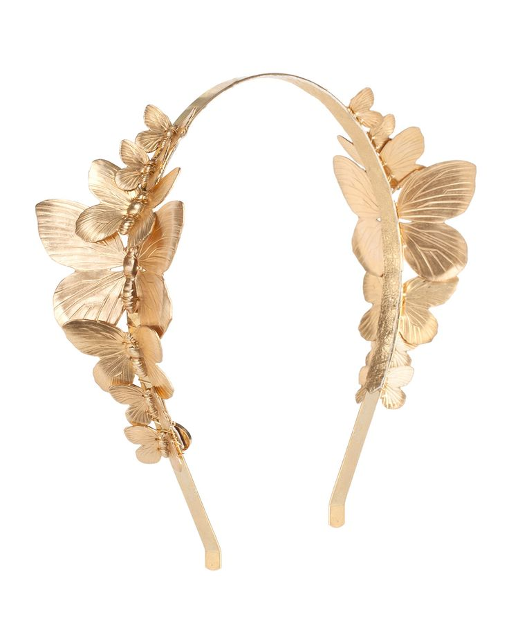 Venus Butterfly Cocktail Headband, Gold - Eugenia Kim
