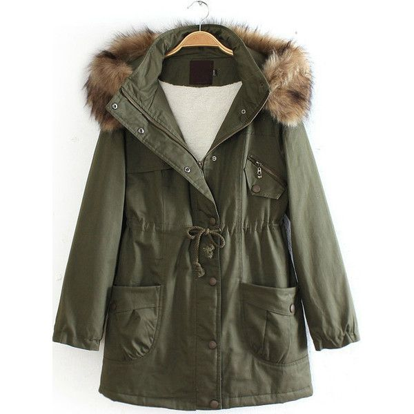Army Green Detachable Fur Trimmed Hood Lined Parka ($58) ❤ liked on Polyvore featuring outerwear, coats, jackets, tops, army green coat, olive parka, lined parka, parka coat and lined parka coat