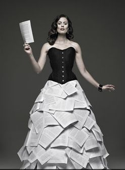 Pretty cool dress designed by Adrian Wu for the Book Lover's Ball in Toronto.