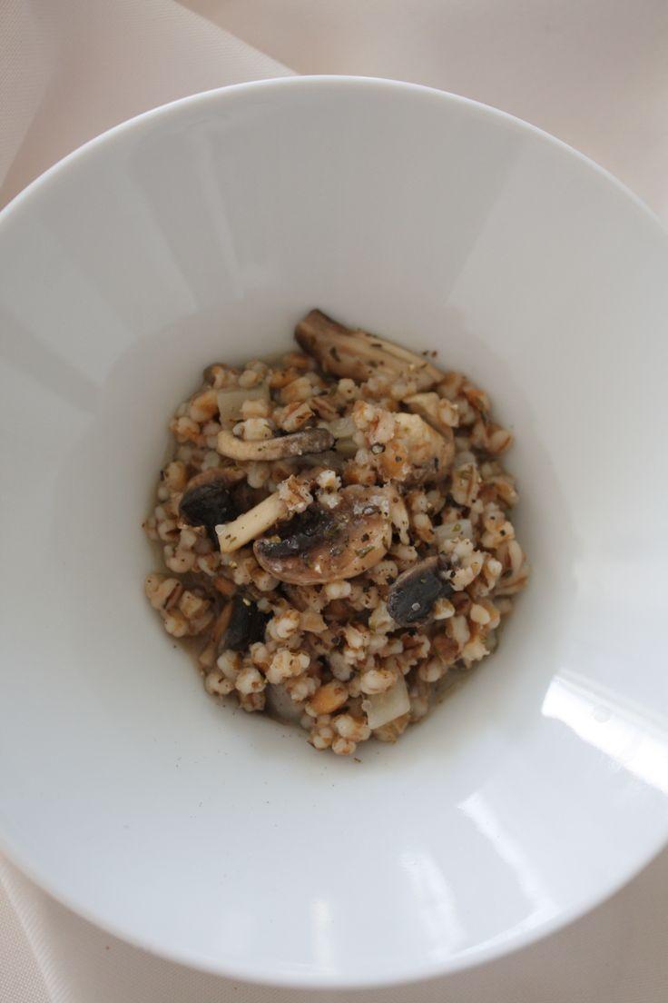 Mushroom thyme barley risotto