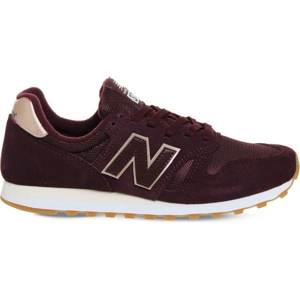 New Balance W373 suede and mesh trainers (240 AED) ❤ liked on Polyvore featuring men's fashion, men's shoes, men's sneakers, mens suede shoes, new balance mens sneakers, mens suede sneakers, mens rubber sole shoes and mens mesh sneakers