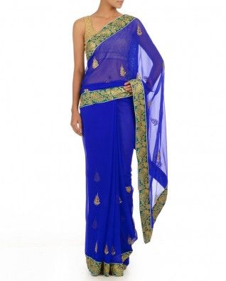 Royal Blue Sari with Leaf Motif