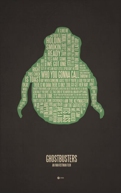 Cool Stuff: Typographic Movie Posters by Jerod Gibson: Movie Posters, Picture-Black Posters, Movie Rooms, Ghostbusters, Ghosts, Watches Movie, Movie Quotes, Movie Trailers, Movie Online