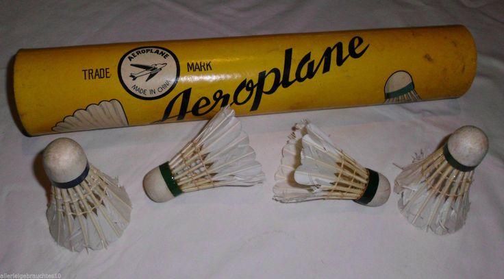 alte Federbälle Aeroplane Swallow Faderball Dose echt Feder Federballspiel | eBay