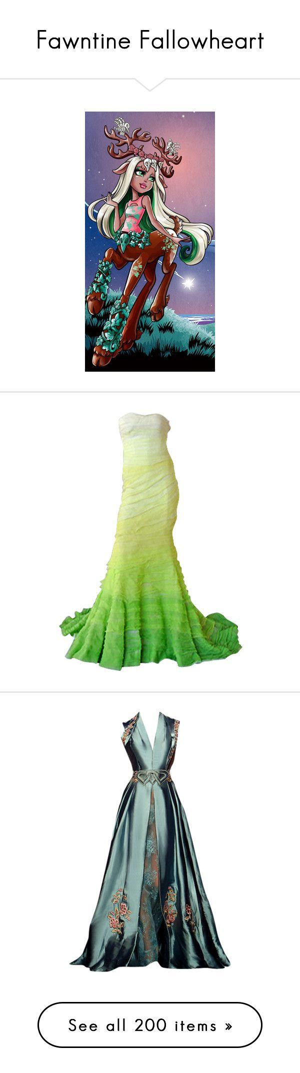 """Fawntine Fallowheart"" by bluetidegirl ❤ liked on Polyvore featuring monster high, dresses, gowns, green, long dress, long green dress, nina ricci dresses, nina ricci gown, nina ricci and green evening dress"