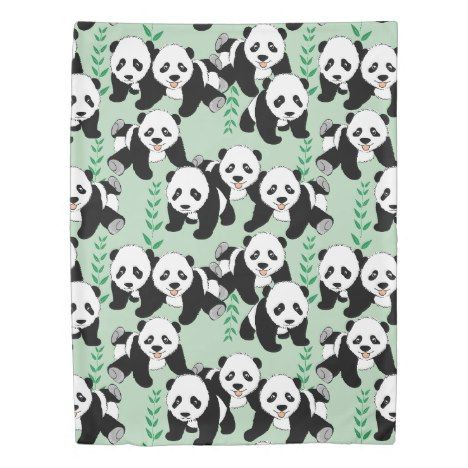 Panda Bears Graphic Duvet Cover #cute #doona #kids #kidsroom