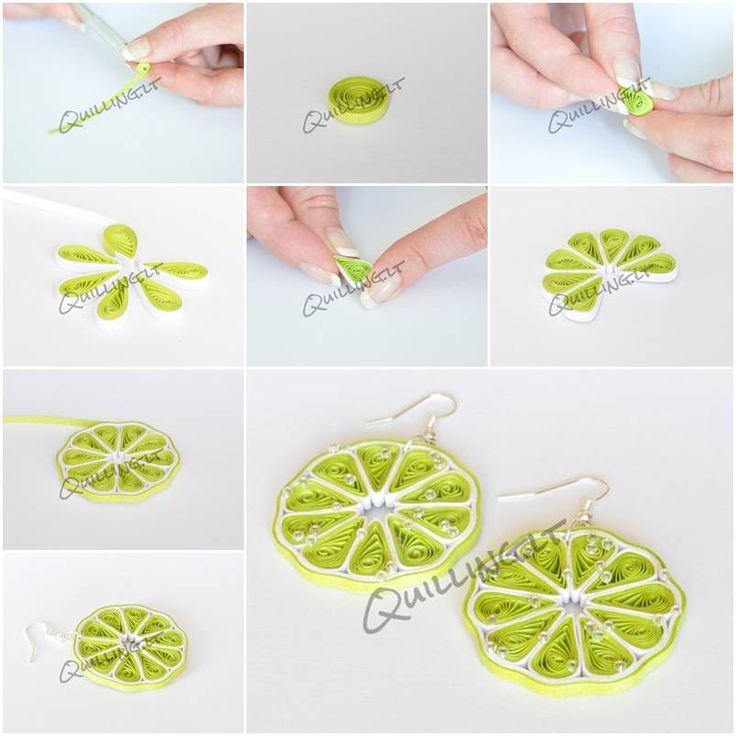 How to make quilled green lemon earrings step by step diy for Easy quilling designs step by step