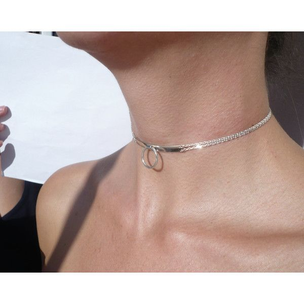 sterling silver slave collar O ring necklace (€85) ❤ liked on Polyvore featuring jewelry and necklaces