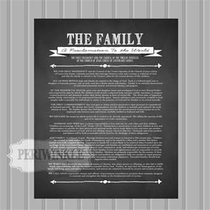 Family proclamation framed