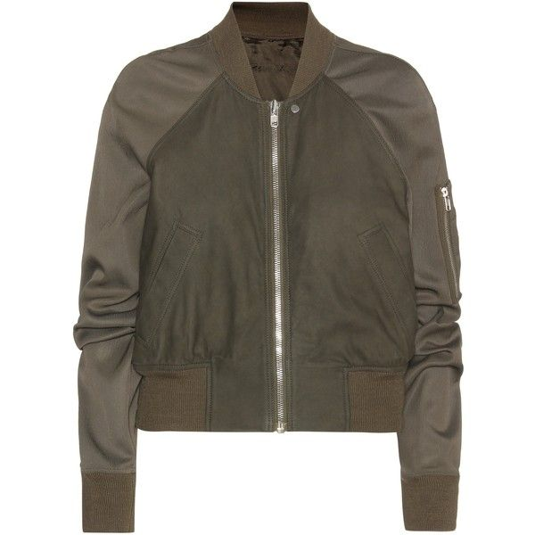 Rick Owens Brushed Leather Bomber Jacket (21 390 ZAR) ❤ liked on Polyvore featuring outerwear, jackets, coats & jackets, tops, green, blouson jacket, rick owens, green flight jacket, bomber style jacket and real leather jacket