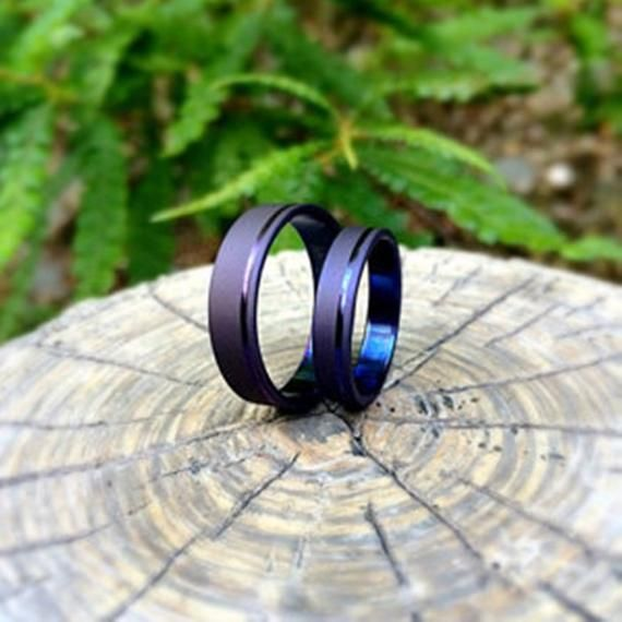 His And Hers Cobalt Blue Anodized Wedding Band Set Wedding Band Sets Blue Wedding Band Purple Wedding Ring Set